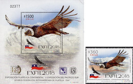 Chile 2018, EXFIL, MNH S/S And Single Stamp - Chile