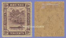 BRUNEI  1924-1937  RIVER SCENE  10c. PURPLE ON YELLOW PAPER  WMK. MULT. SCRIPT CA  S.G. 73  FINE MOUNTED MINT - Brunei (...-1984)