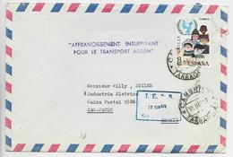 ESPANA 8C SOLO LETTRE COVER AVION CAMBRILS 1972 TO BRASIL + AFFRANCHISSEMENT INSUFFISANT POUR LE TRANSPORT AERIEN - 1971-80 Storia Postale
