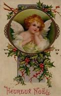 Belle Illustrée Gaufrée Et Dorée : Ange De Noël Au Houx - Sonstige