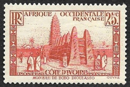COTE D'IVOIRE   1936-38 -  Y&T  116   -  Mosquée - NEUF* - Unused Stamps