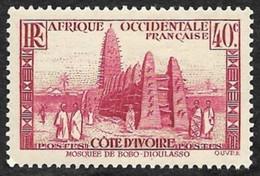 COTE D'IVOIRE   1936-38 -  Y&T  118   -  Mosquée -  NEUF* - Unused Stamps
