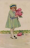 Belle Illustrée Signée Illisible ( Illustrateur Italien ) : Petite Fille En Manteau Bleu Avec Des Roses - Abbildungen