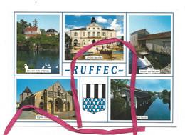 CPM - RUFFEC (16) Multivues : L'hotel De Ville, Moulin Sur Le Lien, Château, église Saint-André, Blason Et Vieux Lavoir - Ruffec