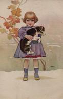 Belle Illustrée Signée Illisible ( Illustrateur Italien ) : Petite Fille Avec Un Chien Dans Les Bras - Abbildungen