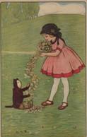 Belle Illustrée Signée Illisible ( Illustrateur Italien ) : Petite Fille Avec Un  Petit Singe - Abbildungen