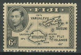 Fiji 1938 6d Stamp KGVI SG 260 Black - Perforation 12/12 ☀ MMH - Fiji (...-1970)