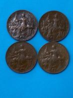 4 Pièces De 10 Centimes Dupuis Différentes / Monnaie Française / Vendu En L'état - D. 10 Centimes