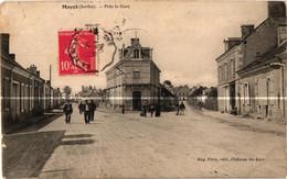 72 . MAYET . PRES LA GARE . 1908 ( Trait Blanc Pas Sur Original ) - Mayet