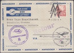 DDR, Ganzsache, Aerogramm, Luftpost, Erstflug, Leipzig- Schweden, Gelaufen 1960 - Umschläge - Gebraucht