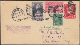 Ganzsache, United States, Philadelphia- San Diego, 2 Cents Liberty Bell, Gelaufen 1928 - Covers & Documents