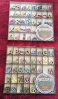 2 Boîtes Artisanat Lettres Bois-paillettes Décoratives Couleur -☛ Letter Box Decorative Colored Sequins - Scrapbooking