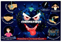 "India Prevent Covid-19 Virus Card: ""Precaution Is To Good Heealth"", ""CORONA VIRUS"" - Disease"