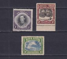 NIUE 1938, SG# 75 - 77, CV £60, George VI, Trees, MH - Niue