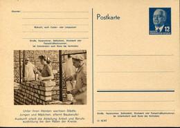 66950 Germany Ddr, Stationery Card 12pf.(ulbricht)(1954) (p56) Construction Jobs, Bauberufe,travaux De Construction - Postkarten - Ungebraucht