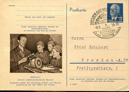 66951 Germany Ddr, Stationery Circuled Card 12pf.(ulbricht)(1954) (p56)girl Learns Metallworking Professions - Postkarten - Gebraucht