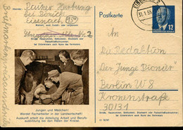 66953 Germany Ddr, Stationery Circuled Card 12pf.(ulbricht)(1955) (p56)young Man At Milking,junger Mann Beim Melken - Postkarten - Gebraucht