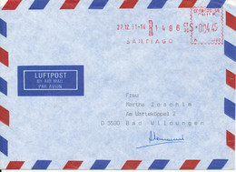 Chile Registered Air Mail Cover With Meter Cancel Sent To Germany Santiago 27-12-1991 - Chile