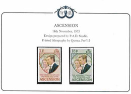 Ascension 1973 Royal Wedding Princess Anne And Mark Phillips, Mi 177-178 MNH(**) - Ascension