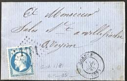 Lettre 22 LGC 1131 Cordes Tarn (77) à Villefranche-de-Rouergue Aveyron (11) 11.09.65 – 9bleu - 1849-1876: Periodo Classico