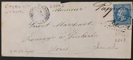Lettre 22 LGC 3663 St-Hippolyte-sur-le-Doubs Doubs (24) à Pontarlier OR Origine Rurale 24.08.66 – 9bleu - 1849-1876: Periodo Classico