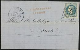 Lettre 29B LGC 1107 Condom Gers (31) à Auch 23.08.1869 France – 8bleu - 1849-1876: Periodo Classico