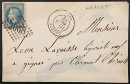 Lettre 29B LGC 2068 Lodève Hérault (33) à Gignac 24.12.1868 France – 8bleu - 1849-1876: Periodo Classico