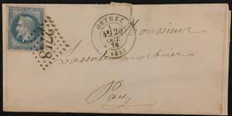 Lettre 29B Tache Blanche Derriere Tête LGC 2748 Orthez Basses-Pyrénées (64) à Pau 29.10.1870 France – 8bleu - 1849-1876: Periodo Classico