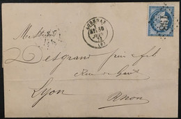 Lettre 60A LGC 198 Aubenas Ardèche (6) à Lyon Ambulant Marseille Lyon 30.6.1873 France – 8bleu - 1849-1876: Periodo Classico