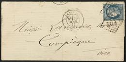 Lettre 60A LGC 404 Beauvais Oise (58) à Compiègne Ambulant Paris Erquelines 20.4.1872 France – 8bleu - 1849-1876: Periodo Classico