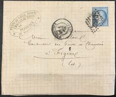 Lettre 60A LGC 2813 Périgueux Dordogne (23) Figeac Lot (44) Carrières Pierre De Taille 1.11.1872 France – 8bleu - 1849-1876: Periodo Classico