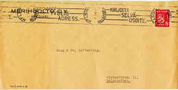 Finland Cover With Lion Type Single Stamp - Briefe U. Dokumente