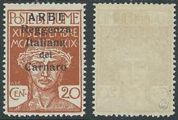 1920 ARBE REGGENZA DEL CARNARO II TIPO 20 CENT MH * - I6-7 - Arbe & Veglia