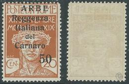 1920 ARBE REGGENZA DEL CARNARO II TIPO 50 SU 20 CENT MH * - I11 - Arbe & Veglia