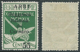 1920 ARBE REGGENZA DEL CARNARO II TIPO 55 SU 5 CENT MH * - I11-4 - Arbe & Veglia