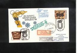 Greece 1984 Olympic Games Sarajevo Torch Flight JAT Athens - Dubrovnik - Sarajevo Interesting Cover - Invierno 1984: Sarajevo