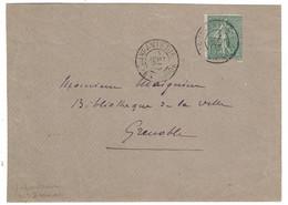 """OBLITÉRATION MILITAIRE CAD 1903 """" INFANTERIE 21e DIVISION """" Sur LETTRE AFFRANCHIE SEMEUSE LIGNÉE N° 130 Pour GRENOBLE - 1877-1920: Periodo Semi Moderno"""