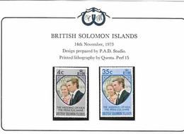 Solomon Islands 1973 Royal Wedding Princess Anne And Mark Phillips, Mi 246-247 MNH(**) - British Solomon Islands (...-1978)