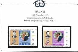 Brunei 1973 Royal Wedding Princess Anne And Mark Phillips, Mi 184-185 MNH(**) - Brunei (...-1984)