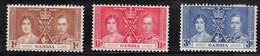 GAMBIA Scott # 129-31 MH - KGVI Coronation Set - Gambia (...-1964)