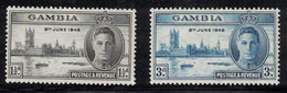 GAMBIA Scott # 144-5 MH - KGVI Peace Issue Set 1 - Gambia (...-1964)