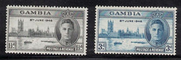 GAMBIA Scott # 144-5 MH - KGVI Peace Issue Set 2 - Gambia (...-1964)