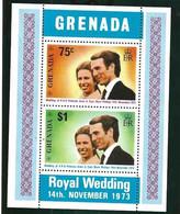Grenada  1973 Royal Wedding Princess Anne And Mark Phillips, Mi Bloc 32 MNH(**) - Grenada (...-1974)