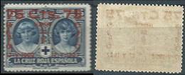 SPANIEN ESPAGNE SPAIN ESPAÑA 1927 RED CROSS CORONATION 75 SURCHARGE 15 CENT MNH ED 380 YT 320 MI 343 SG 437 SC B39 - Unused Stamps