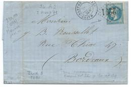 VARIETE SUARNET CADRE GAUCHE ABSENT N° 29 BLEU NAPOLEON SUR LETTRE / MAYET SARTHE POUR BORDEAUX / 1871 - 1849-1876: Periodo Classico