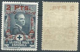 SPANIEN ESPAGNE SPAIN ESPAÑA 1927 RED CROSS CORONATION 2 PTAS SURCHARGE 1 PTAS MNH ED 384 YT 324 MI 347 SG 441 SC B43 - Unused Stamps