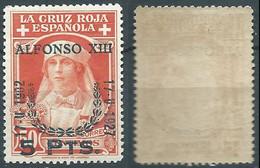 SPANIEN ESPAGNE SPAIN ESPAÑA 1927 RED CROSS CORONATION 5 PTAS SURCHARGE 50 CTS MNH ED 385 YT 325 MI 348 SG 442 SC B44 - Unused Stamps
