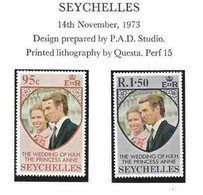 Seychelles  1973 Royal Wedding Princess Anne And Mark Phillips, Mi 316-317  MNH(**) - Seychelles (...-1976)