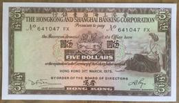 The Hongkong And Shanghai Banking Corporation 5 Dollars 1975 UNC Non Circulé - Hongkong