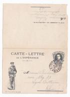 Carte Lettre En Franchise Militaire De L'espérance, Nos Vaillants Belges, Albert Ier - Lettere In Franchigia Militare